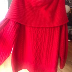 red cable knit over the shoulder sweater dress